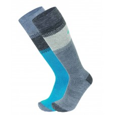 Socks for  skiing SKI KOMFORT EISBAR 2PACK grey/turquoise